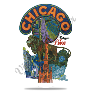 TWA Chicago Travel Poster Round Coaster