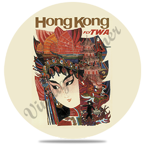 TWA Hong Kong Travel Poster Round Coaster