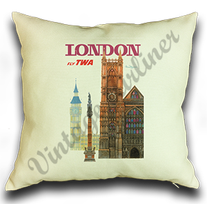 TWA London Travel Poster Linen Pillow Case Cover