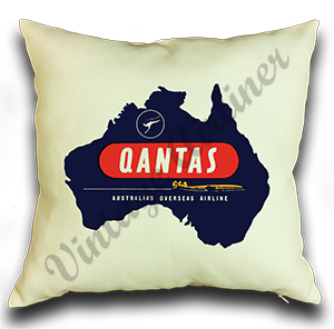 QANTAS Vintage Linen Pillow Case Cover
