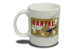 QANTAS World Map Vintage Bag Sticker 11 oz. Coffee Mug