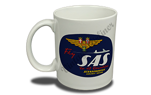 Scandinavia Airlines (SAS) 1950's Vintage Bag Sticker 11 oz. Coffee Mug