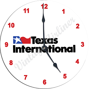 Texas International Airlines Logo Wall Clock