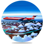TWA Wings of Pride MD-83 Round Coaster by Rick Broome