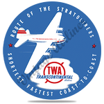 TWA Stratoliner Bag Sticker Round Coaster