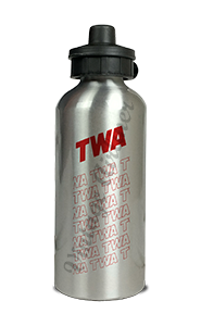 TWA 1970's White Timetable Cover Aluminum Water Bottle