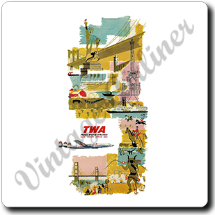 TWA Vintage Timetable Cover Square Coaster