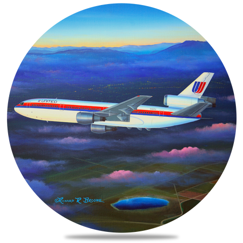 United Airlines DC10 Round Coaster by Rick Broome