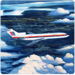 United Airlines 727 Tulip Livery Square Coaster by Rick Broome