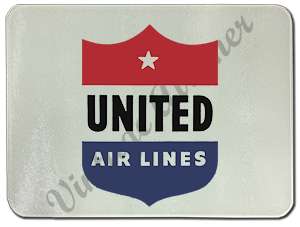 United Airlines 1940's Logo Glass Cutting Board