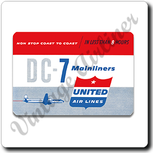 United Airlines 1950's DC-7 Mainliner Cover Square Coaster