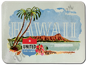 United Airlines Hawaii Bag Sticker Glass Cutting Board