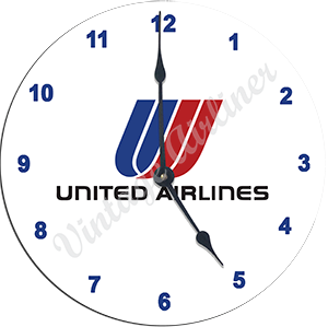 United Airlines Small Tulip Logo Wall Clock