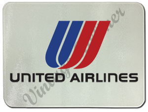 United Airlines Old Tulip Logo Glass Cutting Board