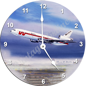 Western Airlines DC10 Wall Clock