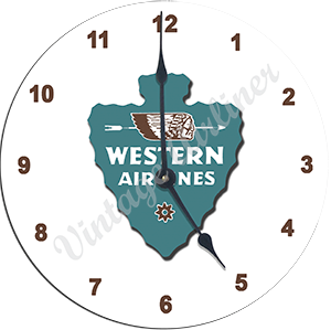 Western Airlines First Logo Wall Clock