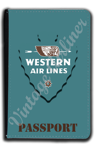 Western Airlines 1940's Bag Sticker Passport Case