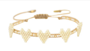 MISHKY - MULTI HEART ROW BRACELET - CREAM