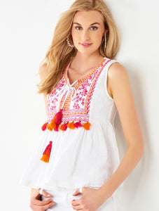 Tassel Embroidery Top - Cotton