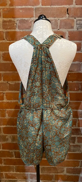 UP-CYCLED SILK SARI OVERALL SHORTS - SIZE LARGE