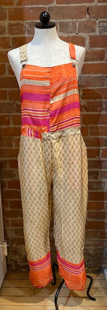 UP-CYCLED SILK SARI OVERALLS - SIZE XL