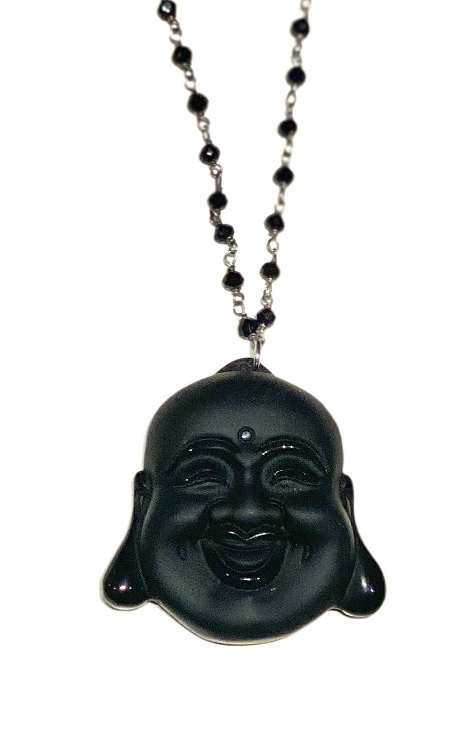 CARVED STONE LAUGHING BUDDHA NECKLACE