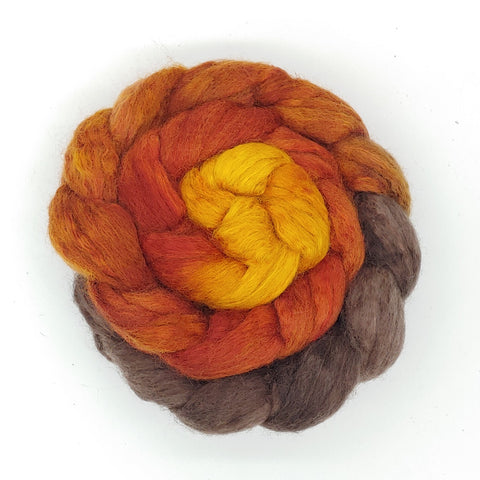 Golden Rolling Hills Gradient Colorway;<br>BFL-Silk Fiber