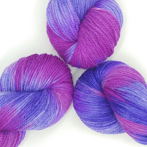 Purple Rain Colorway; <br>Dakota Yarn;<br>Worsted Weight;<br>Targhee 100