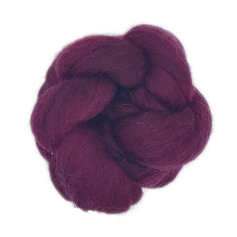 Crimson Color;<br>Corriedale 100 Fiber;<br>One Ounce Breed Bit
