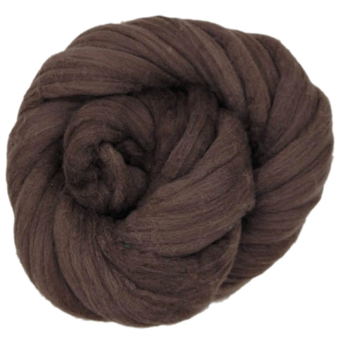 Dark Chocolate Color;<br>Mixed Merino-Silk;<br>Fiber for Handspinning