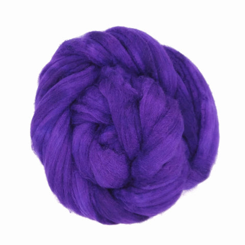 Huckleberry Color; <br> Mixed Merino-Silk;<br>Fiber for Handspinning
