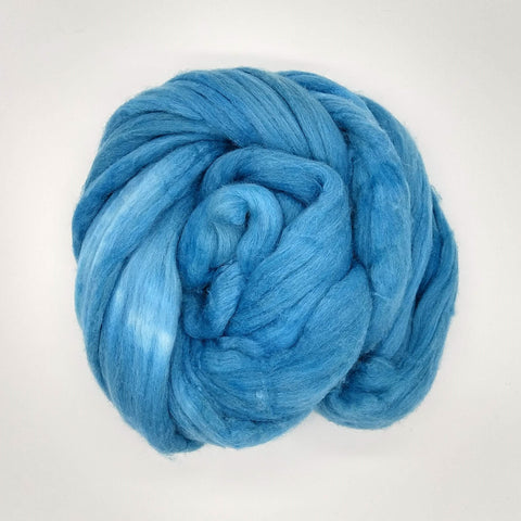 Light Turquoise Color <br>Mixed Merino-Silk;<br>Fiber for Handspinning
