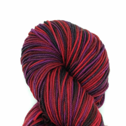 Maleficent Colorway;<br>Tahoma Yarn<br>DK-Weight;<br>100 % SW Merino;<br>4 oz Skeins