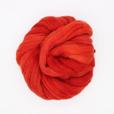Orange Color; <br> Mixed Merino-Silk<br>Fiber for Handspinning