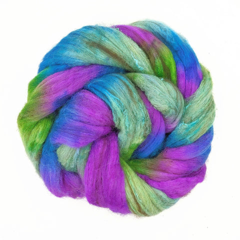 Peacock Colorway;<br>Merino-Yak-Silk Fiber