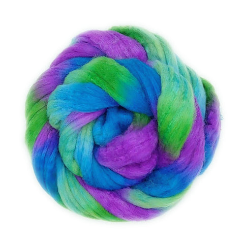 Peacock Colorway;<br>Polwarth-Silk Fiber