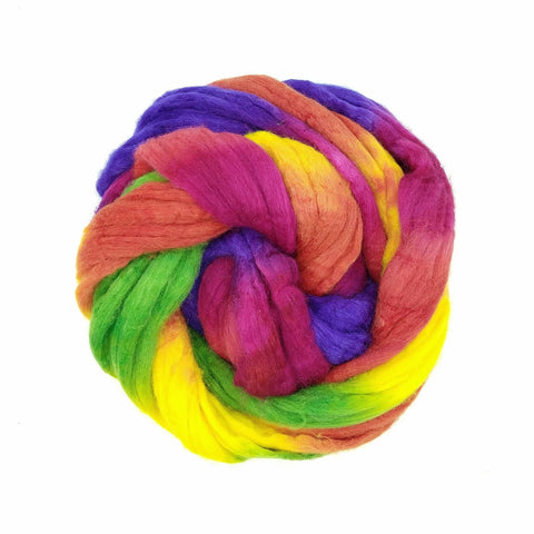 Rainbow Candy Colorway;<br>Mixed Merino-Silk;<br>Fiber for Handspinning