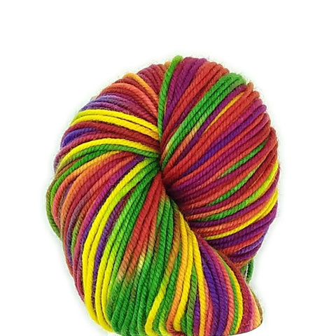 Rainbow Candy Colorway;<br>Tahoma Yarn;<br>DK-Weight;<br>100 % SW Merino<br>4 oz Skeins