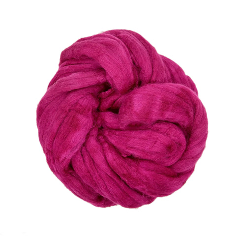 Raspberry Color;<br>Mixed Merino-Silk;<br>Fiber for Handspinning