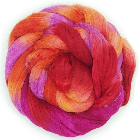 Sangria Colorway;<br>Mixed Merino-Silk Fiber
