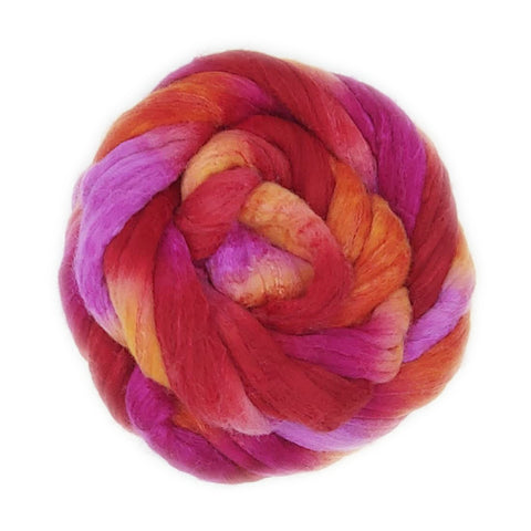 Sangria Colorway;<br>Polwarth-Silk Fiber