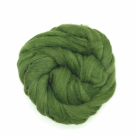 Spinach Color;<br>Mixed Merino-Silk;<br>Fiber for Handspinning