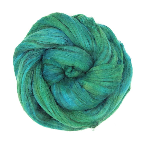 Teal Color;<br>Merino-Yak-Silk Fiber