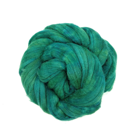Teal Color;<br>Mixed Merino-Silk Fiber