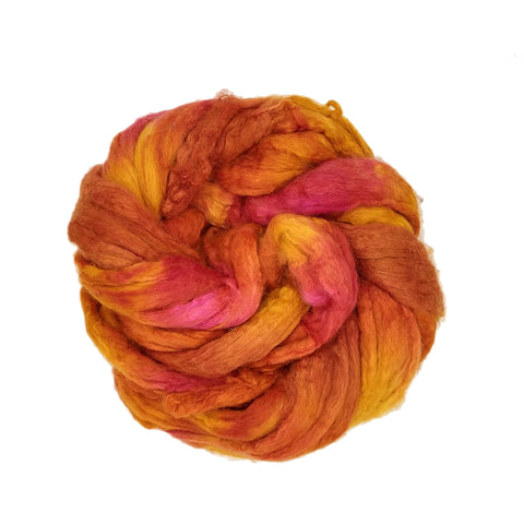 Tequila Sunrise Colorway;<br> BFL-Silk 75-25 Fiber