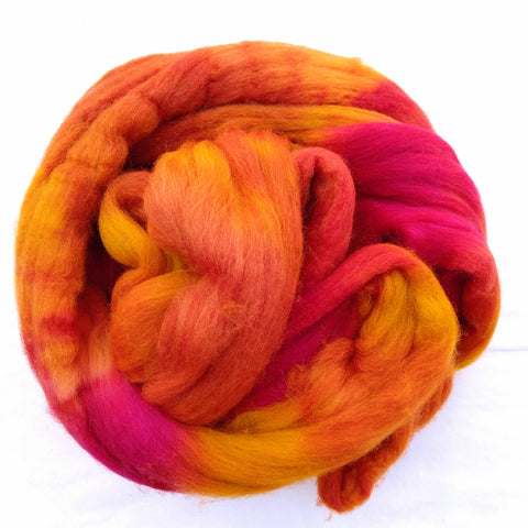 Tequila Sunrise Colorway;<br>Mixed Merino-Silk Fiber
