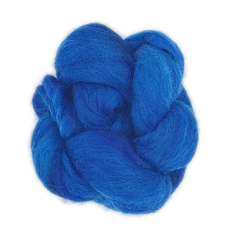 Turquoise Color;<br>Corriedale 100 Fiber;<br>One Ounce Breed Bit