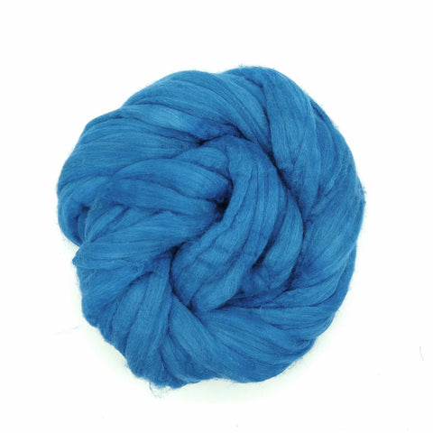 Turquoise Color;<br>Mixed Merino-Silk;<br>Fiber for Handspinning