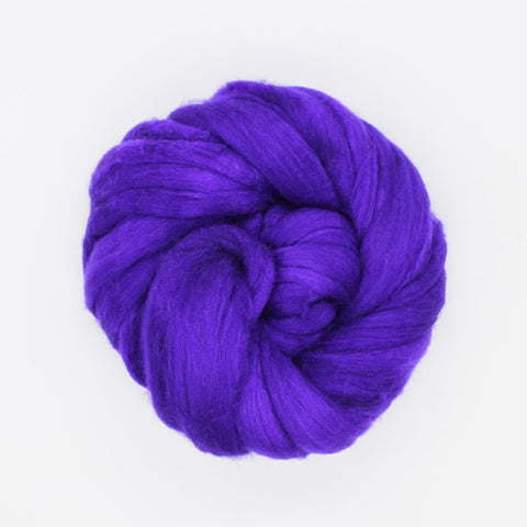Violet Color; <br> Mixed Merino-Silk<br>Fiber for Handspinning