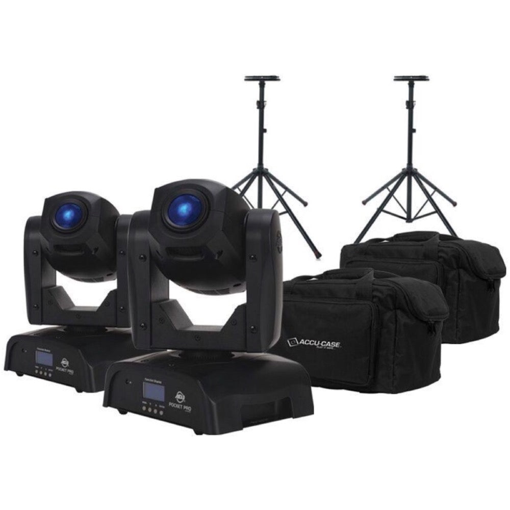 ADJ Pocket Pro Stage Light, with Bags and Stands, Pair